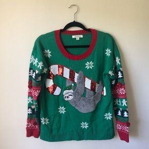 Festive Francesca's holiday sloth sweater